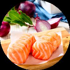 Rôtis & paupiettes  de saumon farcis (St-Jacques, cabillaud, crabe…)